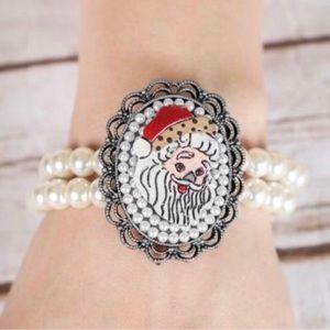 Santa Clause bracelet Christmas pearl accent